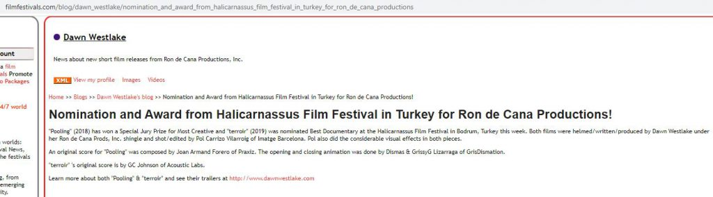 Nomination and Award from Halicarnassus Film Festival in Turkey for Ron de Cana Productions!