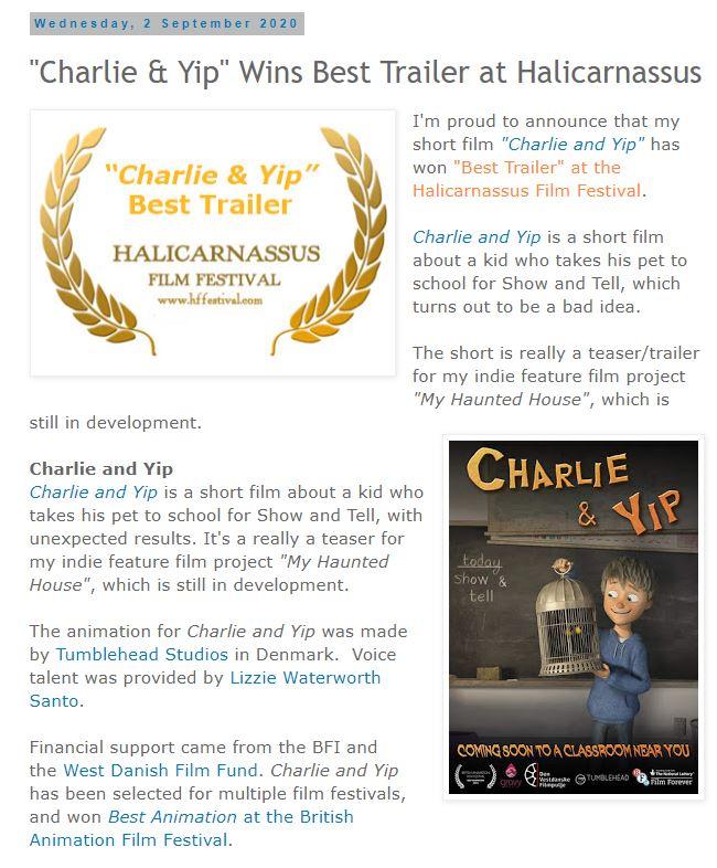 Charlie & Yip Wins Best Trailer at Halicarnassus